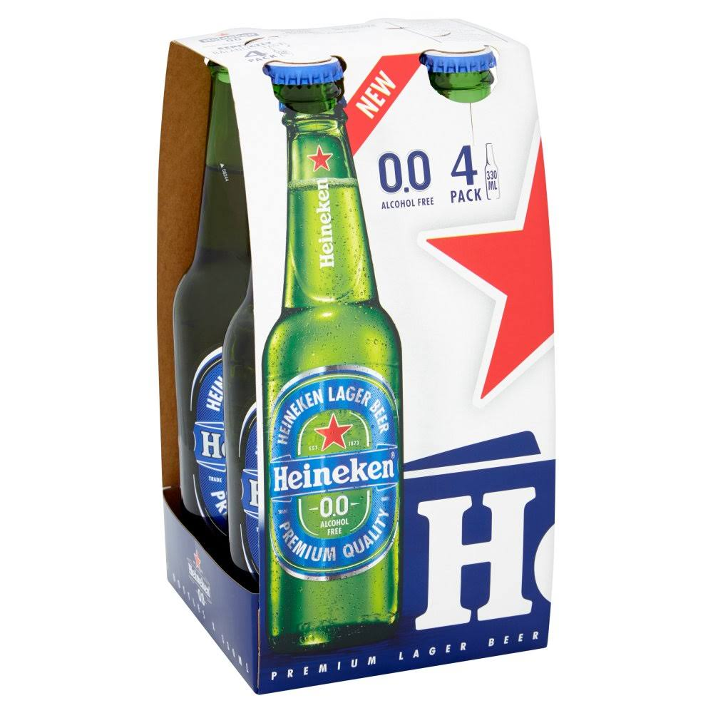Heineken 0.0 Percent Alcohol Free Beer - 330ml, 4pk