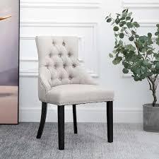 homcom esszimmerstuhl küchenstuhl polsterstuhl gummiholzbeine sessel leinen grau 61 x 56 x 92 cm