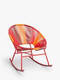 House By John Lewis Salsa Garden Rocking Chair, Orange Sunrise