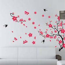 Tree Wall Decals Cherry Blossom Bird Baby Nursery Kids Room Decor Girl