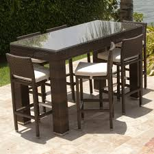 dumont 7 piece all weather bar height dining set leisure select