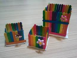 Best Simple Art And Craft For Kids From Waste Material Using Colorful Ice Cream Sticks