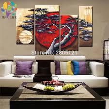moderne wohnzimmer dekoration handgemachte abstrakte rot morgen sonne malerei design sonnenaufgang landschaft ölgemälde auf leinwand