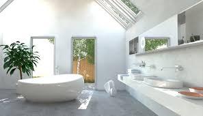 großes modernes bad mit dachschrä weiße wände graue