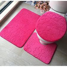 3pcs pack weiche koralle vlies badematte sockel matte toilette waschbare boden teppiche teppich set home bad tür fußboden mat pad pink