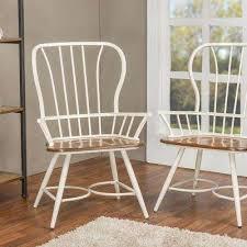 Elfrida White Metal Dining Armchairs Set Of 2