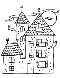 Haunted House Coloring Page Halloween