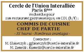 recherche emploi commis de cuisine commis de cuisine en ile de les offres d emploi