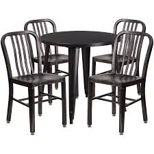 Lancaster Home 30 Round Metal Indoor Outdoor Table Set With 4