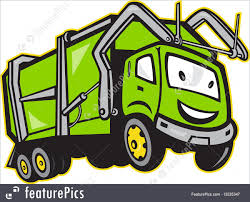 Illustration Of Garbage Rubbish Truck Cartoon