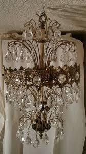 Stiffel Floor Lamps Ebay by Vintage Ornate Brass Crystal Prism Tier Cherub Waterfall