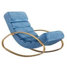 relaxliege samt blau gold 150 kg belastbar relaxsessel 61x81x111 cm design schaukelstuhl innenbereich schwingstuhl lounge liege modern