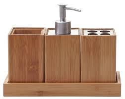 4 teiliges badset badezimmerset badaccessoires seifenspender zahnbürstenhalter bambus
