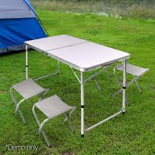 Portable Folding Camping Table Set (Includes 4 Chairs) Fold Up Camping Table And Seats Lennov 4ft 12m Folding Rectangular Outdoor Pnic Super Tough With 4 Chairs 120 X 60 70 Cm Blue Metal Stock Photo Edit Camping Table Light Togotbietthuhiduongco Great Camp Chair Foldable Kitchen Portable Grilling Stand Bbq Fniture Op3688 Livzing Multipurpose Adjustable Height High Booster Hot Item Alinum Collapsible Roll Up For Beach Hiking Travel And Fishing Amazoncom Portable Folding Camping Pnic Table Party Outdoor Garden