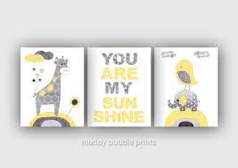 You Are My Sunshine Baby Bedding by Yellow Grey Nursery Decor Nursery Print Nursery Art Yellow