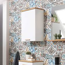 badezimmer hängeschrank in weiß und wildeiche dekor made in germany