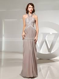 chiffon halter sheath evening dress with beadwork and applique