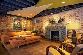 Unfinished Basement Ceiling Paint Ideas by Nicely Finished Basement With Painted Exposed Ceiling Finished