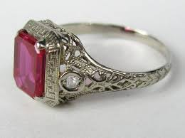 deco ruby and ring 1920s deco white gold ruby filigree ring at 1stdibs