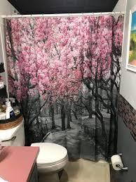 lila kirsche blüten duschvorhang badezimmer dekor