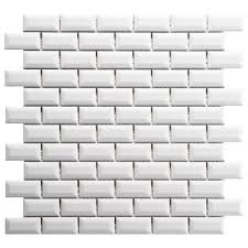 Home Depot Merola Hex Tile by Merola Tile Metro Subway Beveled Glossy White 12 In X 12 In X 5