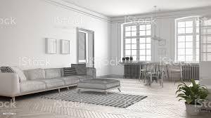 unvollendetes projekt der minimalistischen wohnzimmer skizzieren sie abstrakte innenarchitektur stockfoto und mehr bilder abstrakt