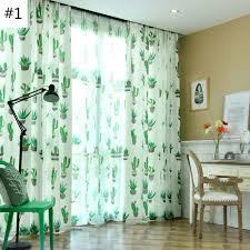 landhaus stil vorhang kaktus muster grün für wohnzimmer