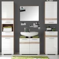 badezimmer setone in hochglanz weiß und eiche san remo badmöbel set 3 teilig bad kombination 110 x 182 cm mit spiegelschrank