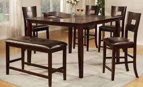Counter Height Bar Style Dining Table With Four Chairs And One Cushioned Bench A