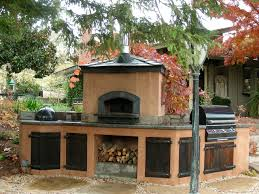 Outdoor Hip Roof Wood Fired Pizza Ovens Mediterranean Patio