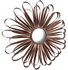 Zeckos Metal Glass Wall Mounted Mirrors Retro Ribbon Flower Rose Gold Finish Mirror