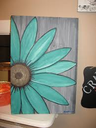 Turquoise Flower Daisy Painting Rustic Wood Wall Art By SouthofParis On Etsy Woodcraftprojects