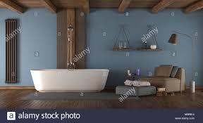 blue modernes badezimmer mit badewanne dusche und sessel