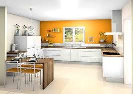 couleur murs cuisine cuisine blanche orange plan de travail en bois cuisine