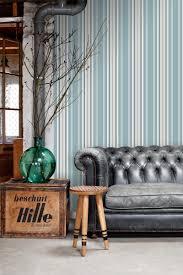 tapete streifen vintage blau und grau
