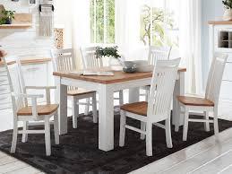 esszimmer sitzgruppe novara esstisch 160 180 cm 4 stühle 2 armlehner pinie nordica weiß wildeiche ge