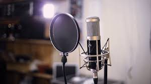 Studio Microphone Close Up Recording Music Equipment Stock Video Footage