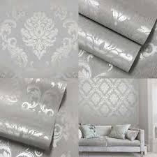 henderson interiors chelsea paillettes damassé papier peint gris