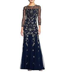 Adrianna Papell Beaded 3 4 Sleeve Gown