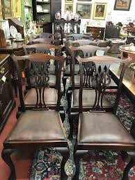 100 Dining Chairs Country English Style 19th Century Set Of Eight Chippendale With Leather