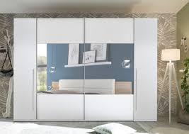 schwebetürenschrank mega kleiderschrank 4 türig schrank schlafzimmer weiß 312cm mit spiegel