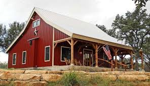 Country Barn Home Kit W Open Porch Pictures Metal Building Homes