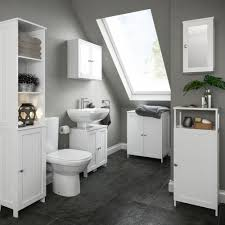 Tall White Shaker Style Bathroom Cabinet Freestanding by Nicolina White Tall Storage Unit Basin Unit Storage And Traditional