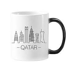 Simple Line Drawing Hand Painted City Qatar Landmark Morphing Heat Sensitive Changing Color Mug