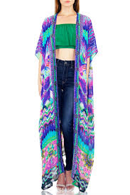 Blue Geometric Printed Sheer Duster Cardigan Cover Up