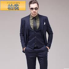 Male Plaid Suit Blue Vintage