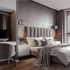 beautiful bedroom in gray colors