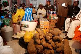Gift items at an Igbo traditional marriage ceremony
