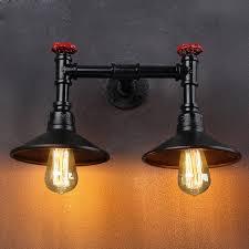 Rustic Style Vintage Industrial Wall Light Lamp1 2 Heads Metal Lamp Shade Black