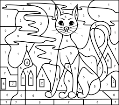 Cat Coloring Worksheet Page Color By Number Pages Printable Worksheets On Animals House